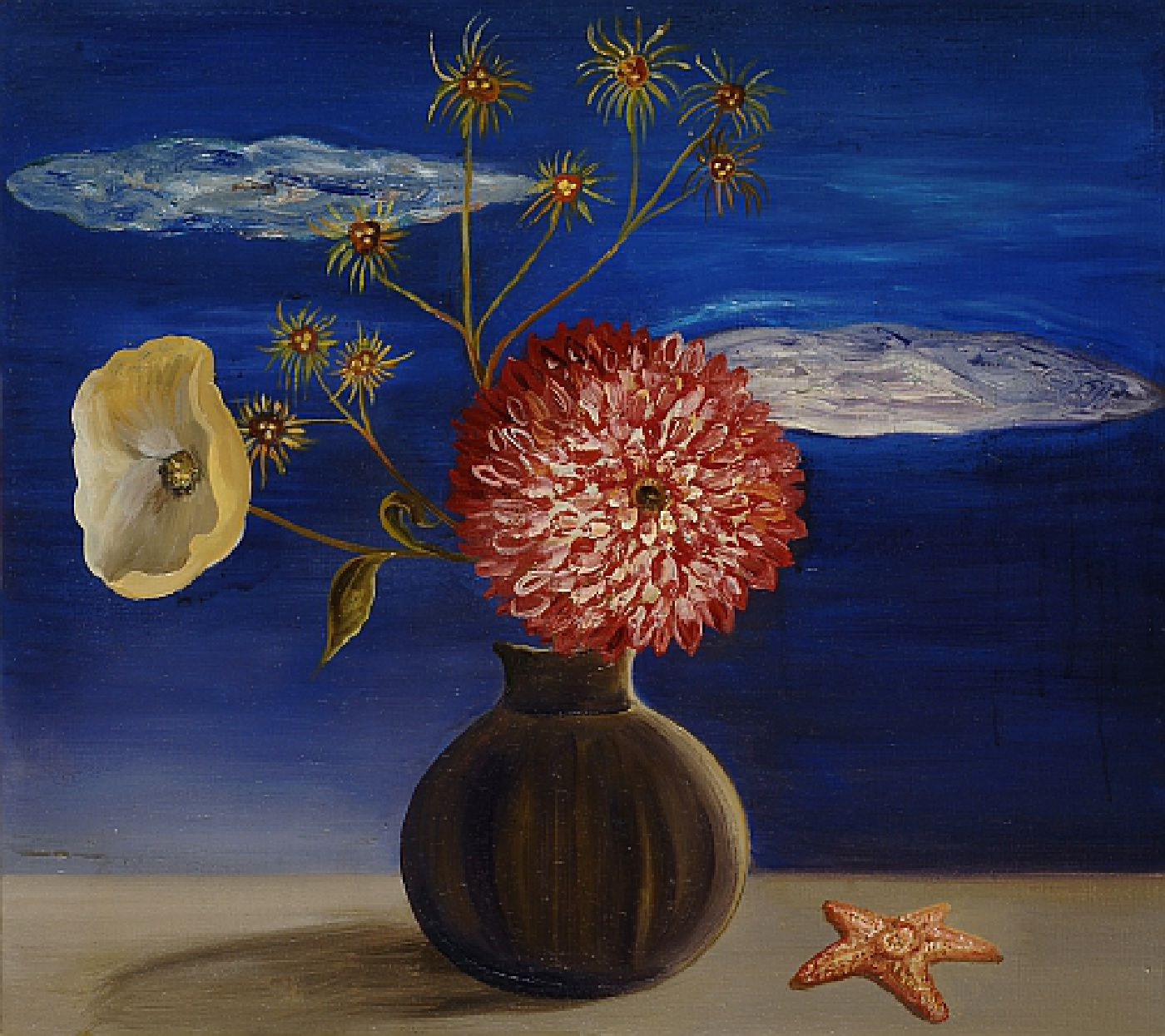 Big Red Flower with Very Blue Sky - Oil on linen
