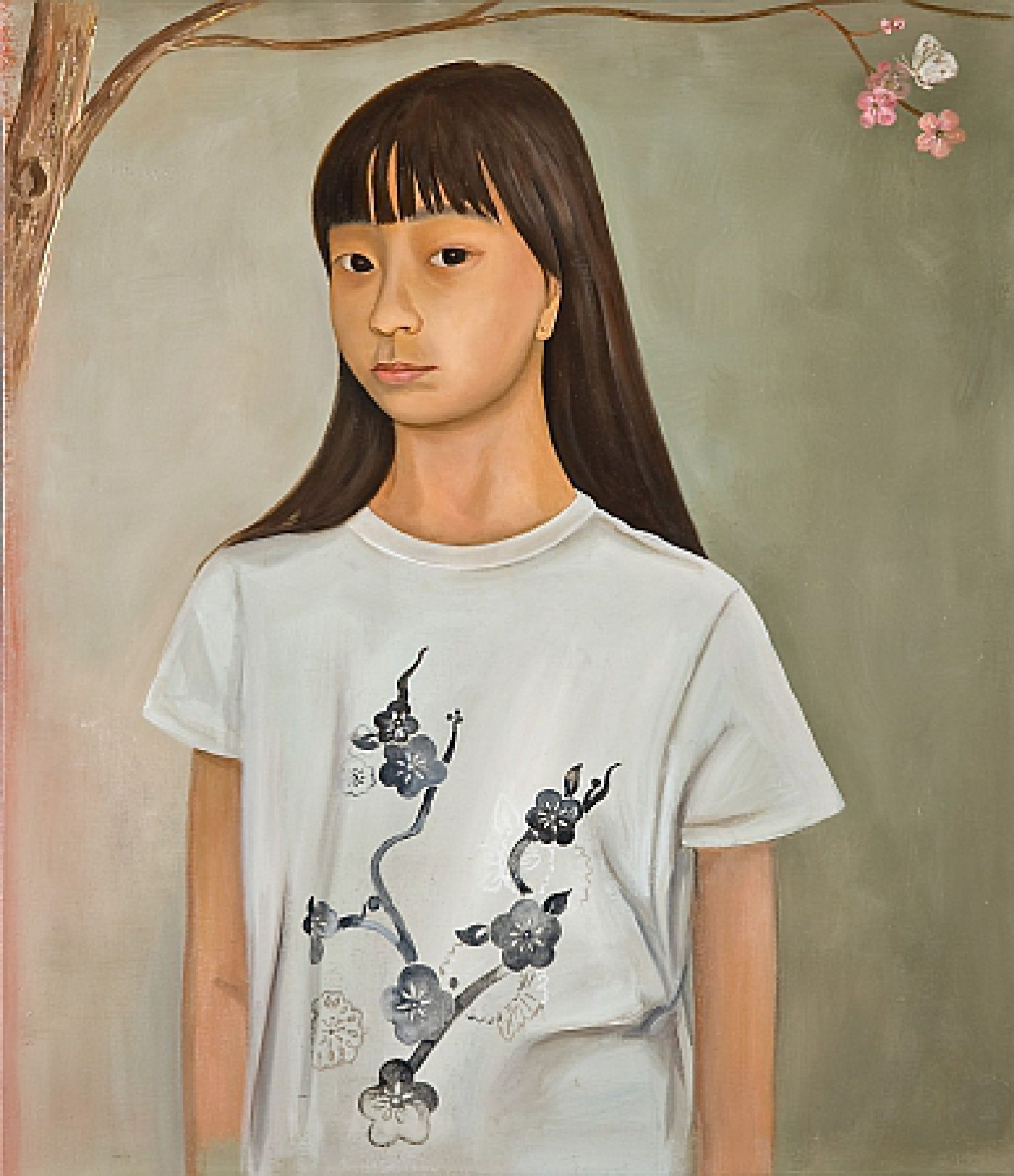 Girl with Cherry Blossom Tee Shirt - oil on linen, 26 inches x 30 inches, 2008