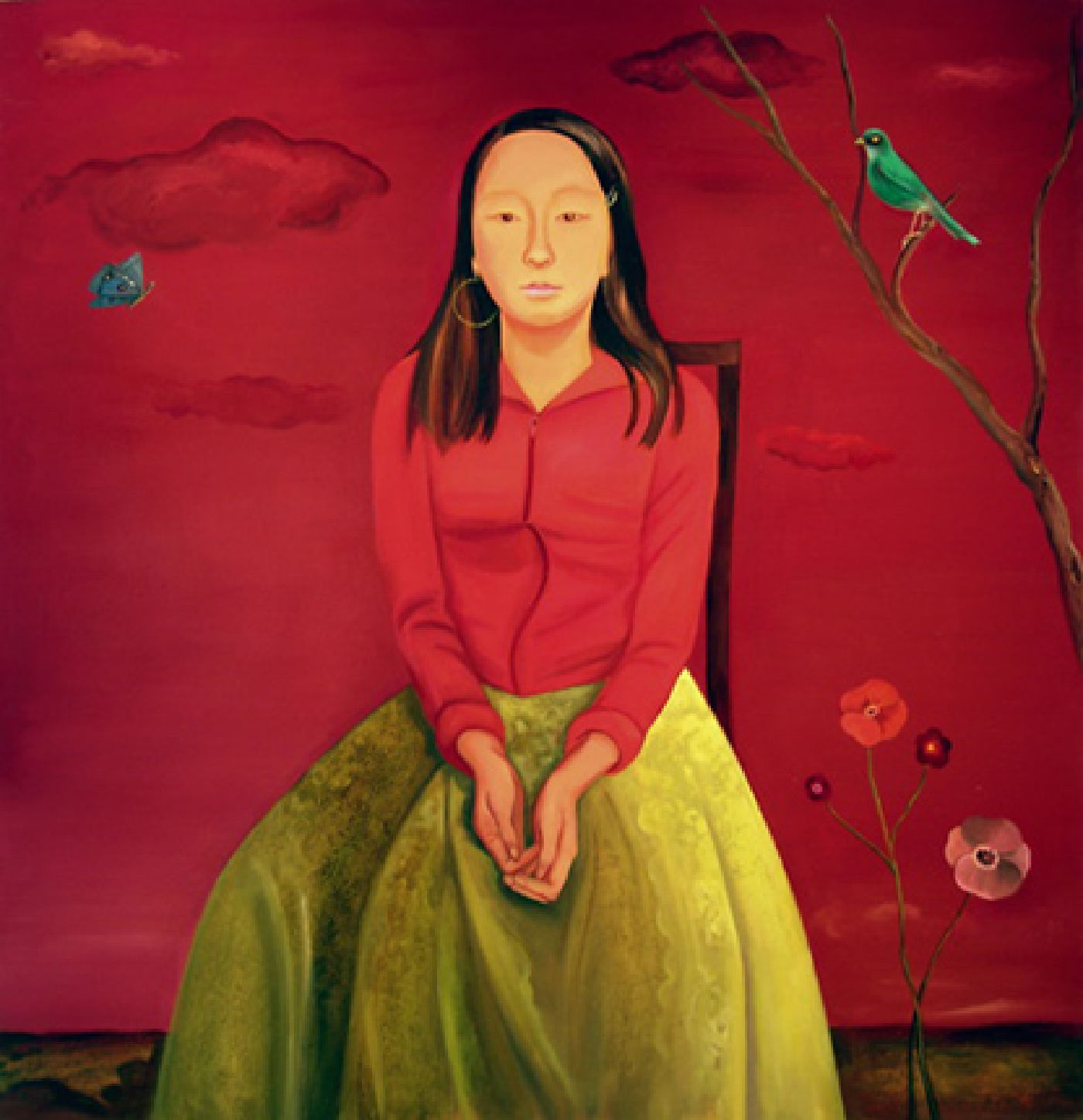 In a Colorful World (Girl with Red Sky and Green Skirt) - oil on canvas, 52 inches x 50 inches, 2009