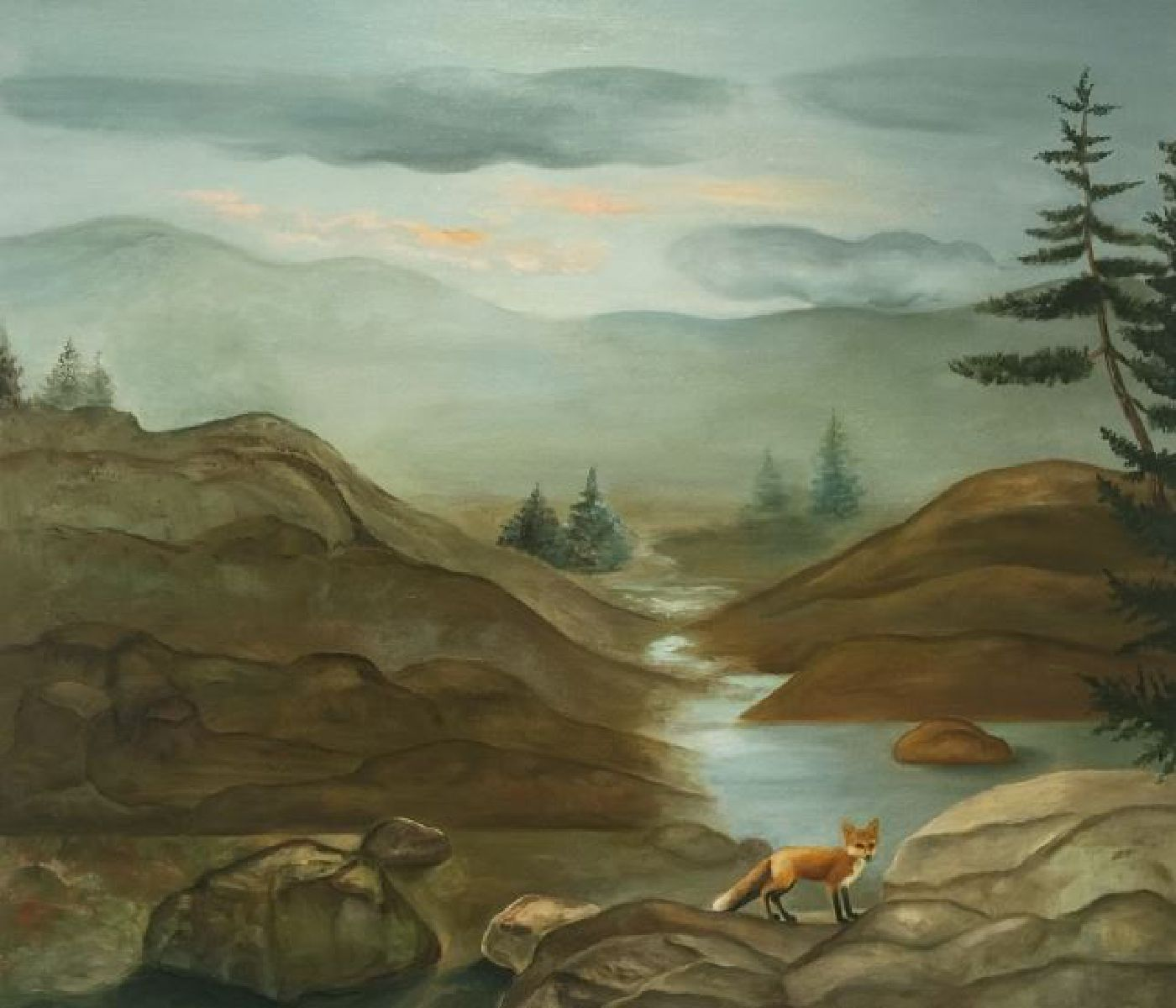 Lone Fox with Mountains - oil on canvas, 36 x 42 inches, 2016