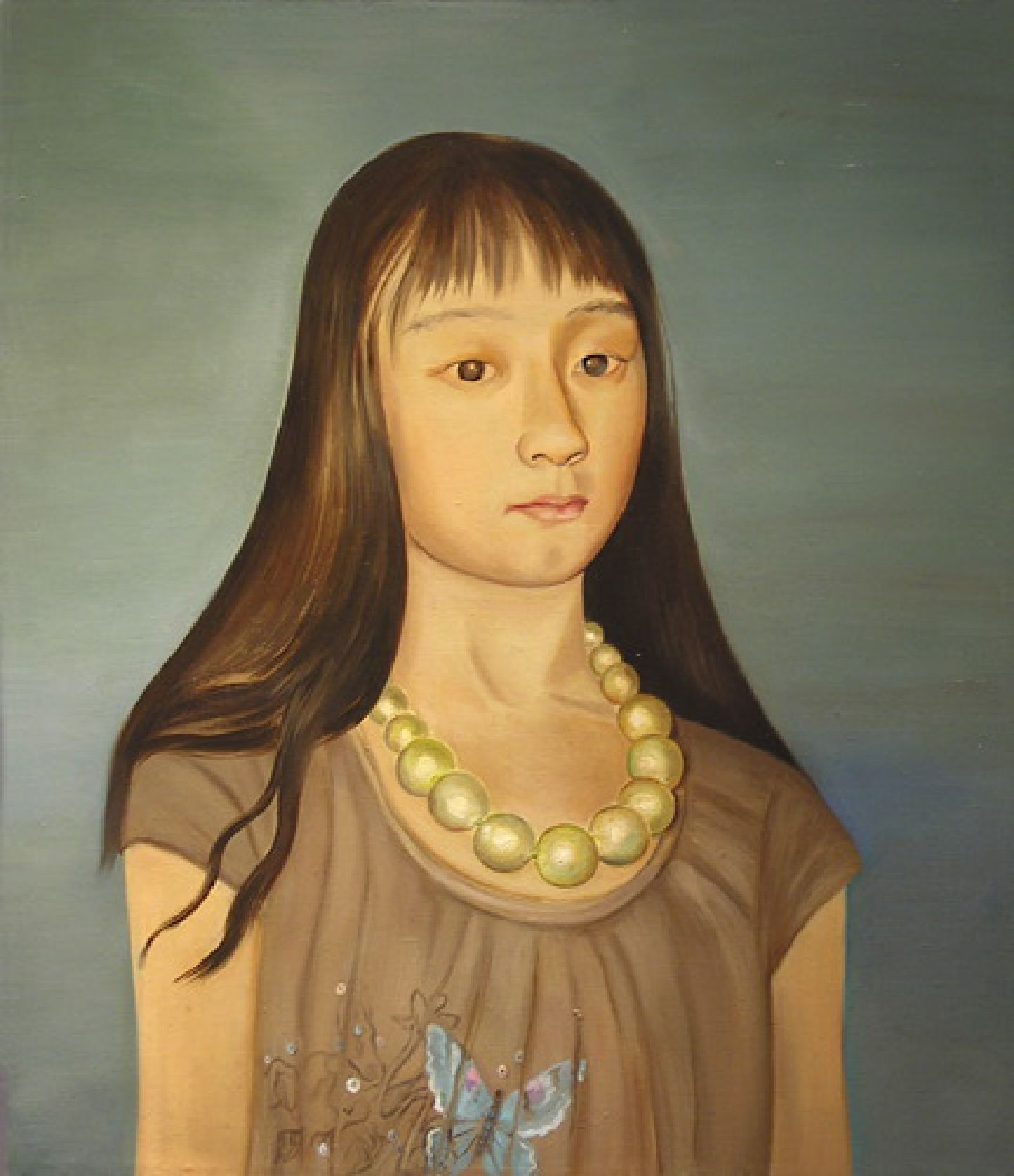 So Much Younger Then (Isabel with Big Beads)- oil on linen, 26 x 22 inches, 2009