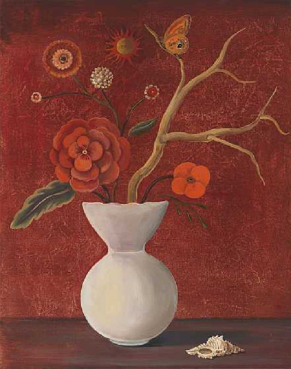 Still Life with Red Sky and Geranium by Jane Smaldone