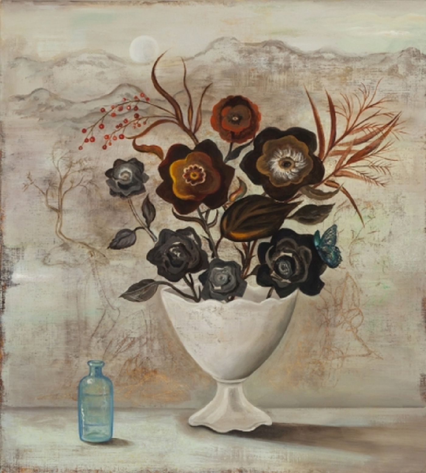 The Alchemist's Roses - oil on linen, 32 x 29 inches, 2015