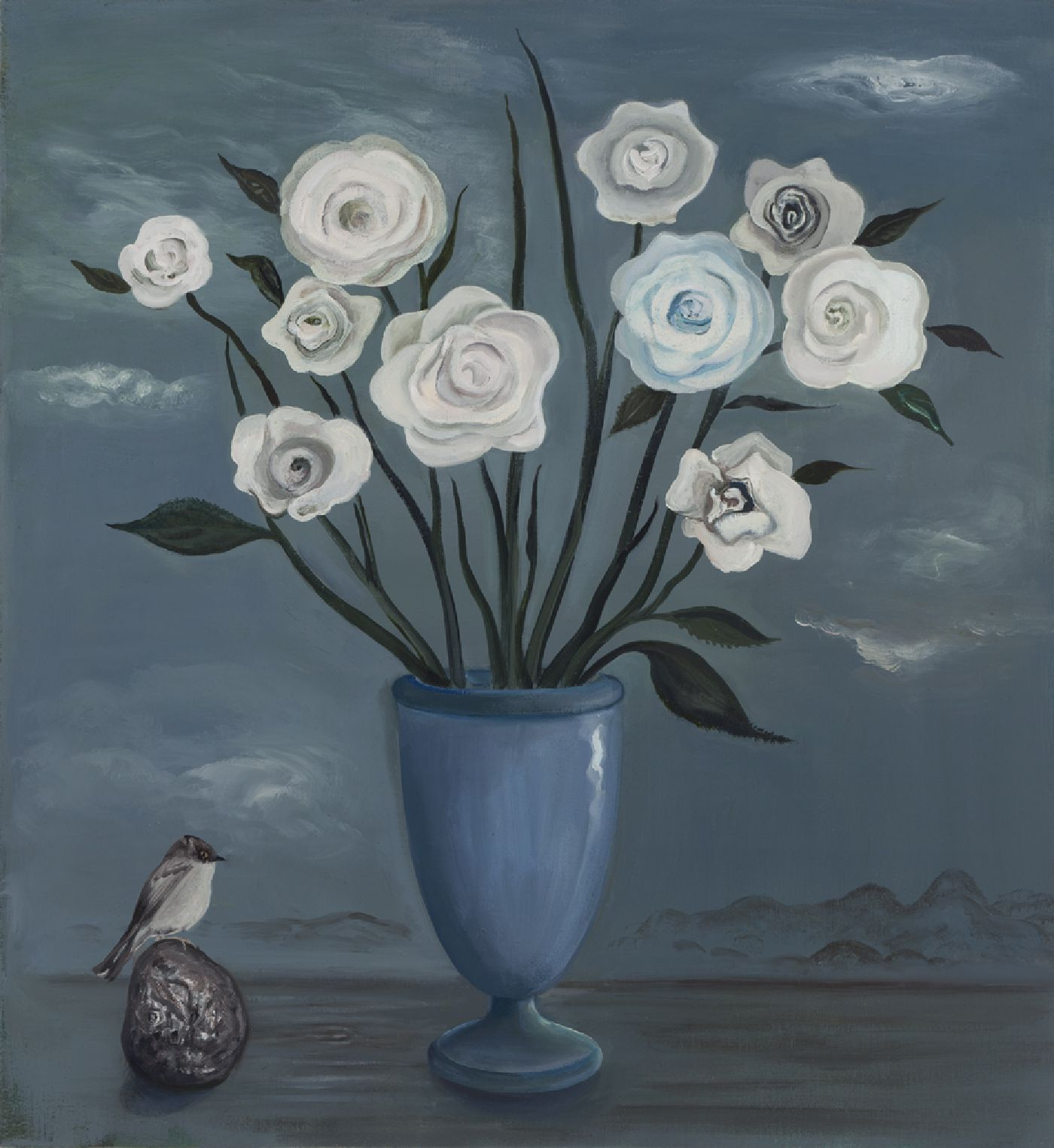 White Roses with Bird - oil on linen, 27 x 25 inches, 2016